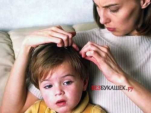 Мать осматривает сына на наличие вшей и гнид