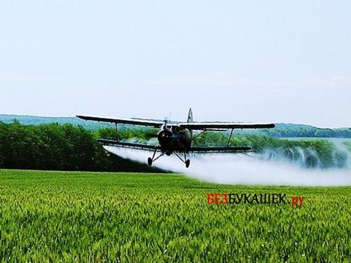 Обработка зерновых полей с самолета