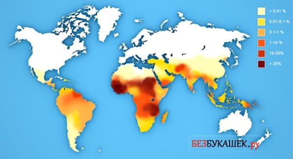 Карта очагов малярийного плазмодия