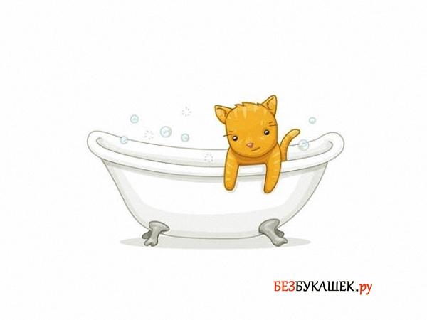 Купание котенка с применением шампуня