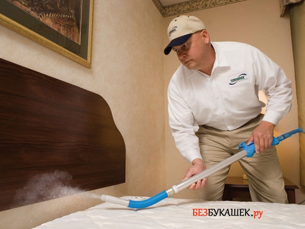 Профессионал из СЭС проводит обработку комнаты